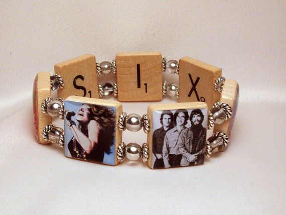 WOODSTOCK BANDS Bracelet / UPCYCLED / Scrabble Jewelry / Janis Joplin / Jimmi Hendrix / Creedence Clearwater Revival on Etsy, $18.00