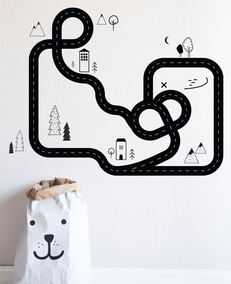 "Road Map - Die Cut Decal - WALL DECAL Entire Design measures 50""w x 40""h Fully removable and reusable wall decals that will brighten and add character to any room. **PLEASE NOTE THAT METALLIC VINYL IS"