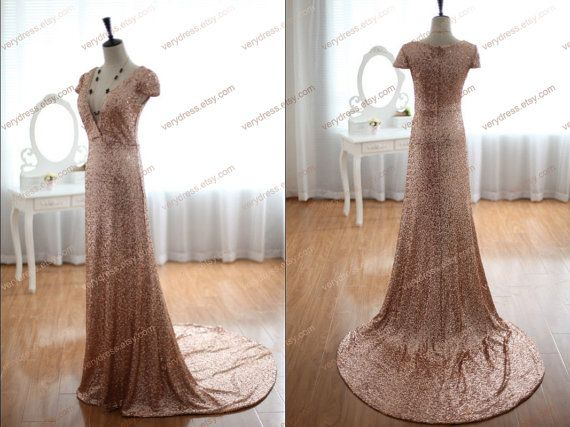 Cap sleeves v neck sequin chiffon rose gold bridesmaid dress formal evening gown