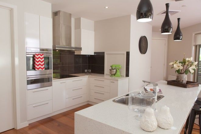 Realm Building Design Echuca - Blair street Moama Kitchen - island bench - wall oven - light fitting