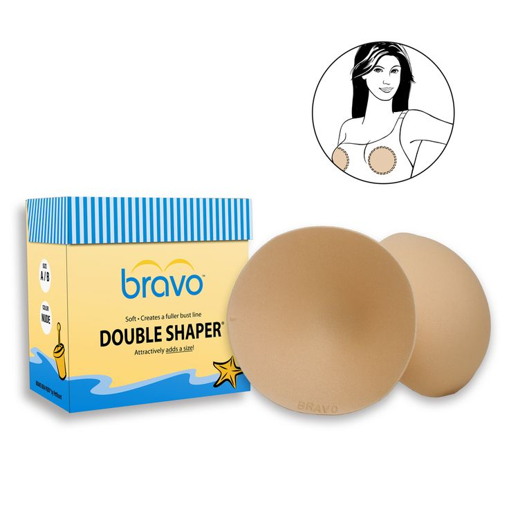 Attractively shapes and prevents nipple show-through. Bravo's Double Shaper® (Style 9800) is one of Bravo Bra Pads most comfortable, noteworthy styles. Their circular design enhances the bust line for a fuller, more defined breast shape while looking completely natural.