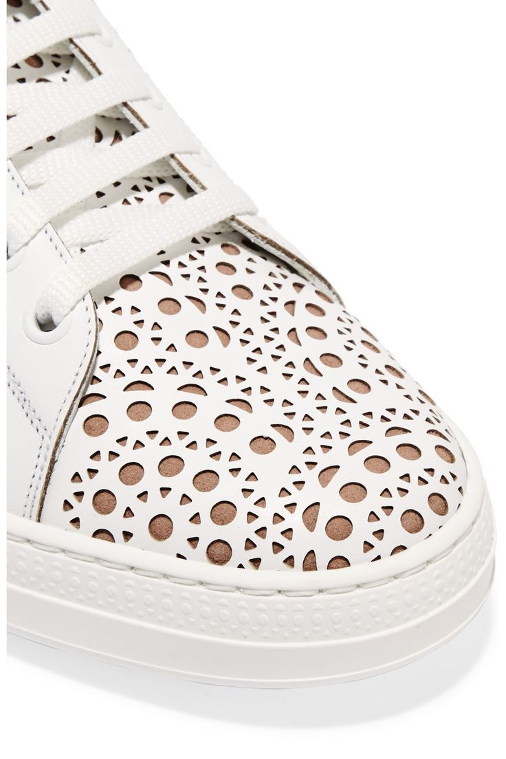 Alaïa | Laser-cut leather sneakers | NET-A-PORTER.COM