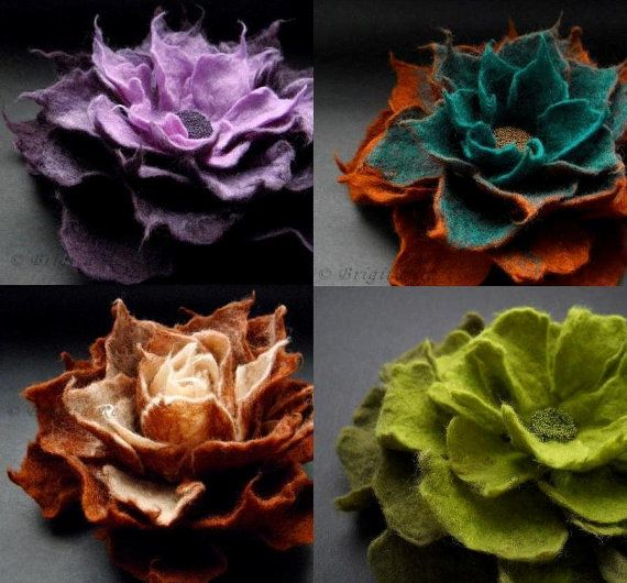 Wet felting  http://www.etsy.com/listing/90451649/any-4-felt-flower-brooches