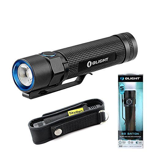 Olight S2 Baton Cree XM-L2 LED Lumens Variable-Output Side Switch LED Flashlight With SKYBEN Holster 950