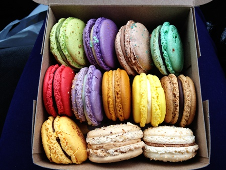 Macarons from Yann Haute Patisserie in Calgary (329-23rd Ave SW). My favourite is the passionfruit. Yum yum yum.