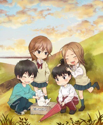 "This chibi is based off the anime ""Kimi ni Todoke."" This anime chibi picture is of Shota Kazehaya(bottom left), Ayane Yano(top left), Chizuru Yoshida(top right) and Sawako Kuronuma(bottom right)."