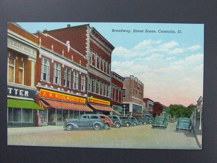 Centralia Illinois IL Broadway Curt Teich Linen Postcard 1939 Woolworth Cars