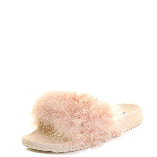 Cape Robbin Women Open Toe Flip Flop Marabou Fur Slide Slip On Flats Sandals Shoe Slipper 10 Nude -- You can get additional details at the image link.