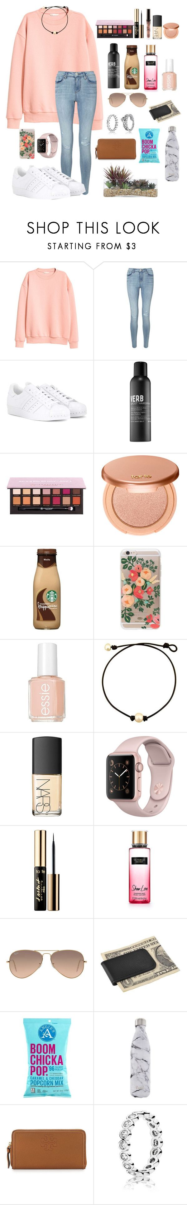 """Rtd! Important announcement:)"" by laurenek006 ❤ liked on Polyvore featuring H&M, Miss Selfridge, adidas, Verb, Anastasia Beverly Hills, tarte, Rifle Paper Co, Essie, NARS Cosmetics and Victoria's Secret"