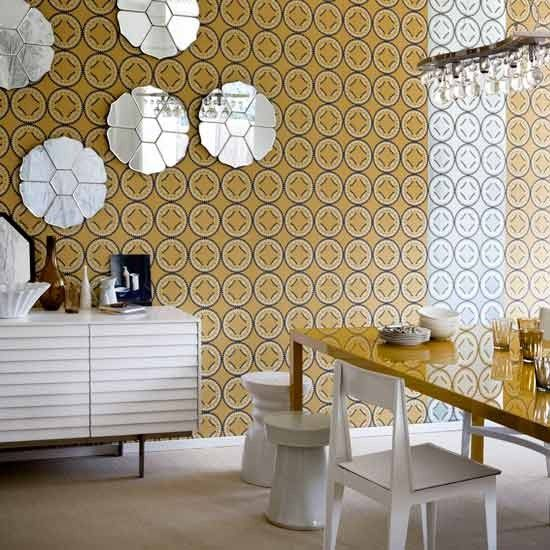 Wallpaper in different colourways on the same wall.