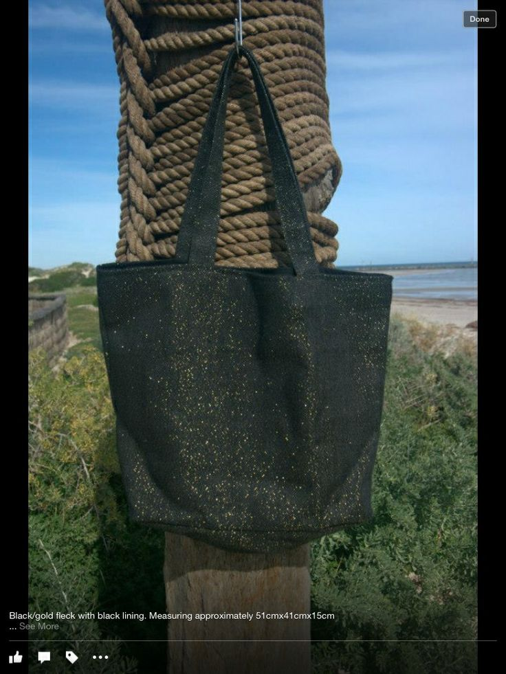 Jute bag - Black with gold fleck Handmade black lined bag, complete with two internal pockets.  Approx 51x41x15cm  $30.00 each