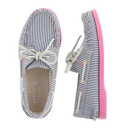 The iconic deck shoe from Sperry Top-Sider—a true American original and a favorite since 1935—is back and better than ever. In have-to-have stripes that we sized down from our women's collection, these are the shoes she can wear with (almost) everything.  <ul><li>Cotton canvas upper.</li><li>Rubber sole.</li><li>Import.</li></ul>
