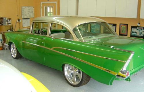 1957 Chevy Tri Five Project Street Seats Custom Street Rod Interiors Green Gold Champagne