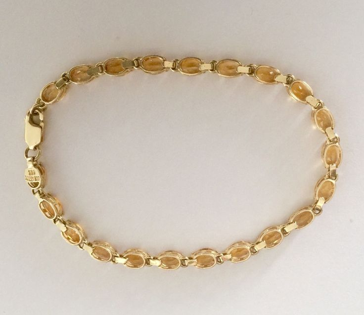 "NISSKO 14K YELLOW SOLID GOLD NATURAL CITRINE QUARTZ TENNIS BRACELET NOVEMBER BIRTH STONE. We always have good deals going as well! LENGTH 7.5"". 