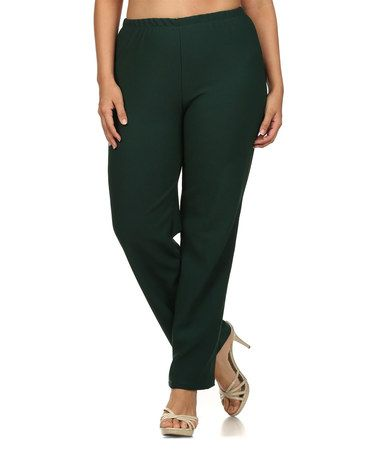 Another great find on #zulily! Forest Green Flat-Front Pants - Plus #zulilyfinds