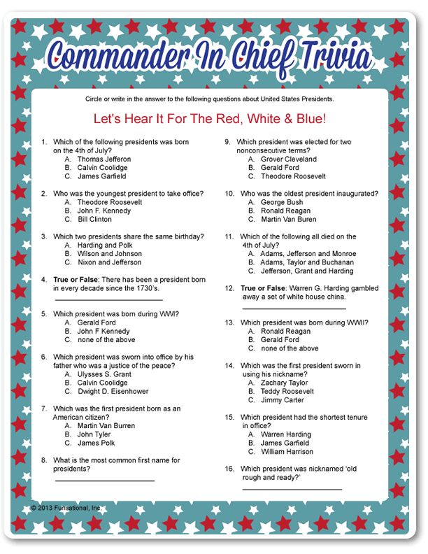 Printable Commander In Chief Trivia crafts 4th of july games