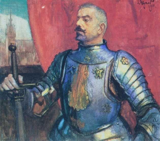 Leon Wyczółkowski - Prtrait of Erazm Baracz in armor