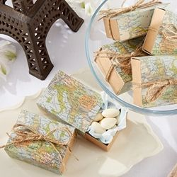 """""""Around the World"""" Map Favour Box (Set of 24) - A Wedding Less Ordinary"""