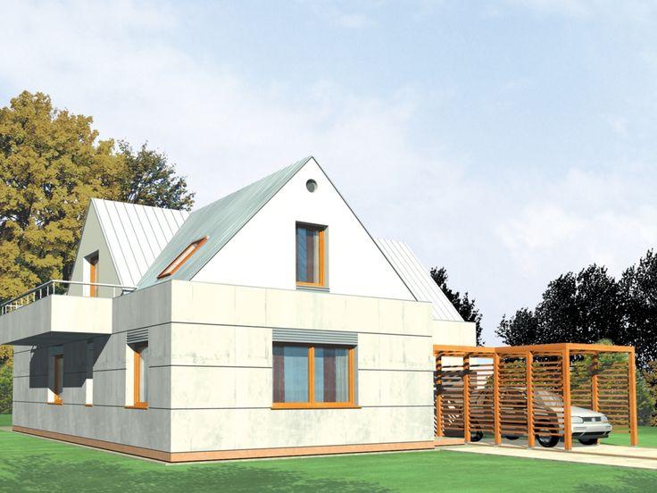 Dom o zwartej prostej bryle nadający się zarówno do zabudowy wiejskiej jak i podmiejskiej.