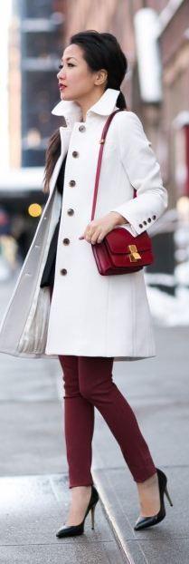§Top :: J.Crew coat  Bag :: Celine  Shoes :: Yves Saint Laurent - I love red pants and white coat