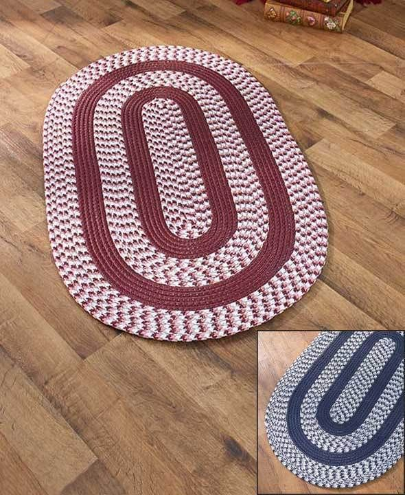 """BRAIDED ACCENT RUG 27"""" X 46"""" NAVY BLUE ENTRY MAT OVAL  REVERSIBLE FOR TWICE WEAR #Unbranded #Braided"""