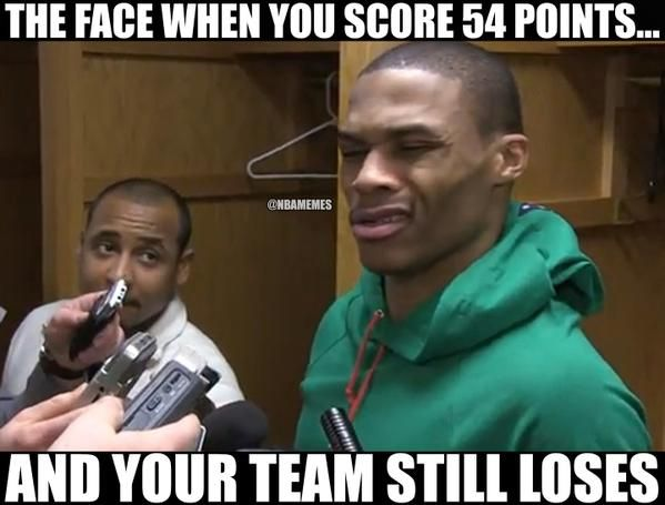 Russell Westbrook after his 54-point night. #Thunder - http://nbafunnymeme.com/nba-memes/russell-westbrook-after-his-54-point-night-thunder