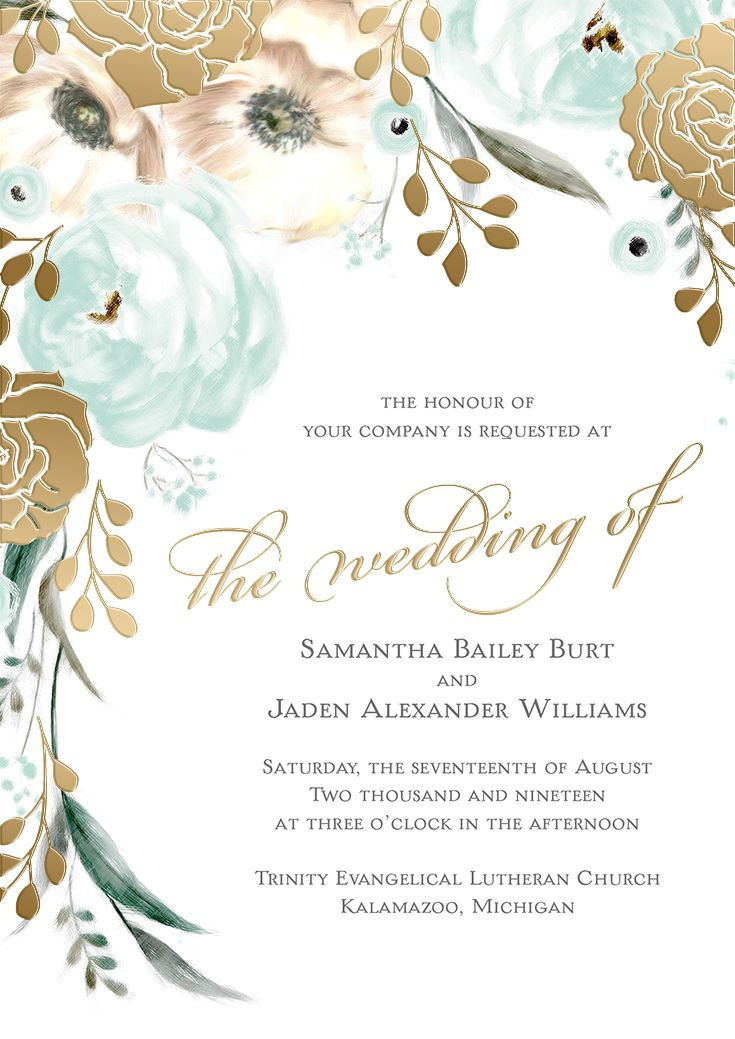 Gold foil + watercolor floral details. This wedding invitation from the David Tutera Collection is absolutely stunning! #davidtutera #floralwedding