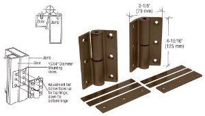 "CRL Duranodic Bronze Finish Universal Storefront Door Hinges - Set by CRL. $45.09. C.R. LAURENCE DL1099DU CRL Bronze Anodized Universal Storefront Door Hinge. This CRL Universal Hinge Replacement Kit is machined to the close tolerances required for heavy, continuously used commercial doors. The universal fit allows replacement of all storefront hinges without modification on both flush and 1/8"" (3 mm) recessed doors. These cure, non-exposed hinge pins cannot be ..."