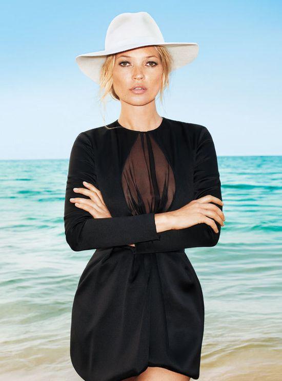 Kate Moss :: floppy hat. Black dress. Cocktail. LBD.