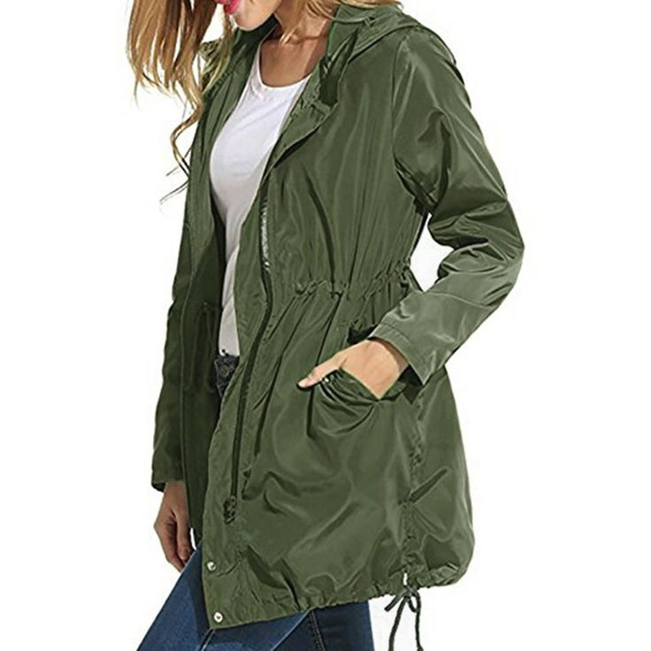 Women Rain Jacket Waterproof Hooded Zip Lightweight Trench Coat Windbreaker - thiscrazygurf