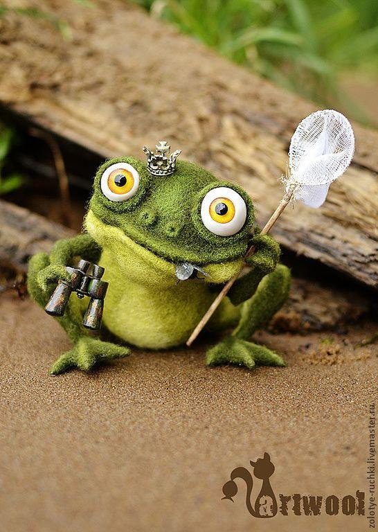 Купить Ну, и хде мой прынц?? - зелёный, лягушка, лягушка игрушка, царевна-лягушка, болото