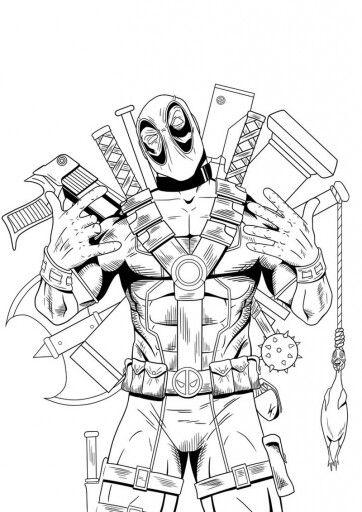 Deadpool (met afbeeldingen)   Kleurplaten, Stripfiguren ...