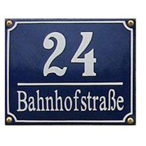 Süddeutsches Emaille Hausnummernschild mit Wunschzahl / Text 20x16 cm: Amazon.de: Küche & Haushalt