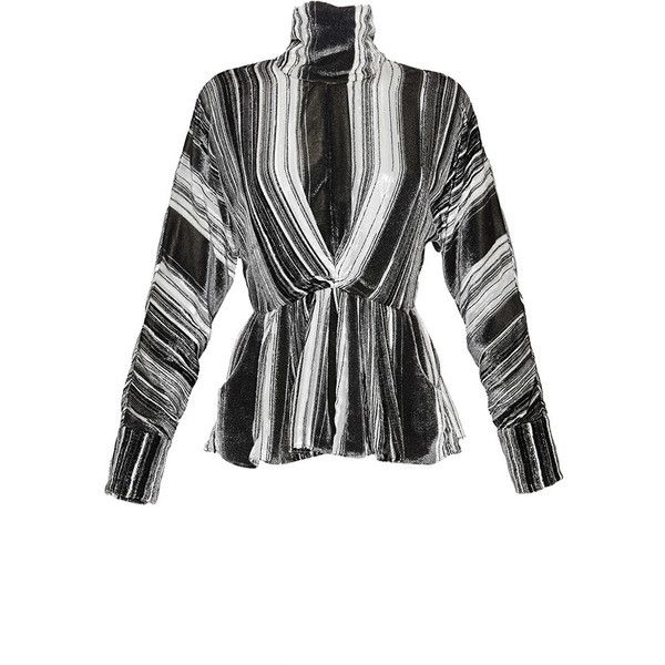 J.W. Anderson White Silk Velvet Lurex Blouse With Peplum ($2,095) ❤ liked on Polyvore
