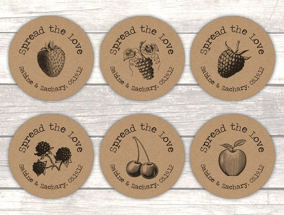 Perfect for dressing up your rustic jam wedding favors!  The stickers are matte brown kraft and come in six different flavors as shown on the second picture. You can choose your option in the drop down menu. The print color is black. The lay out, saying (except for the personalization part) and font cannot be changed.  Stickers are sold per sheet in the following sizes and quantities: 1.5 (3.81 cm) = 30 per sheet 2.0 (5.08 cm) = 20 per sheet 2.5 (6.35 cm) = 12 per sheet You can choose your…