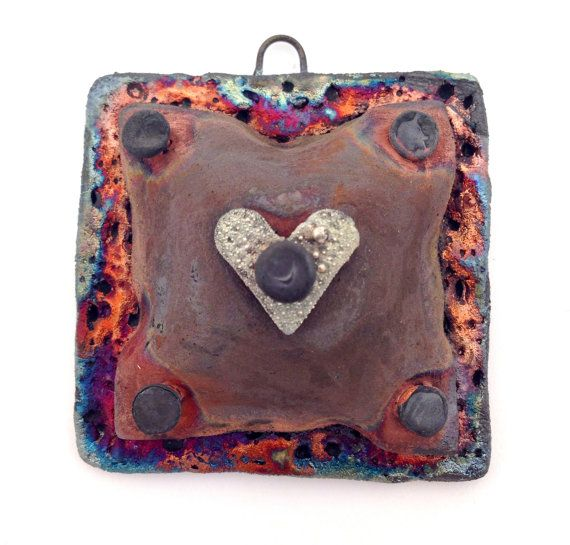 9 best raku pendants images on pinterest jewellery supplies bead puffy square heart raku ceramic pendant or cabochon by makustudio aloadofball Choice Image