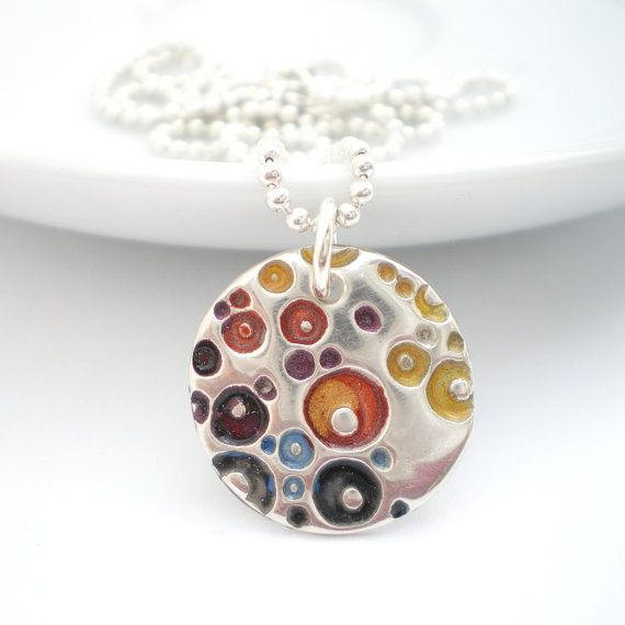 Small silver coral pendant with a colourful enamel. $80. AliBaliJewellery on etsy.