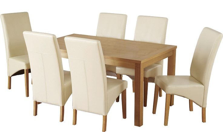 This Belgravia Dining Set in Natural Oak Veneer/Cream PU is now available from Wrexham Warehouse Furniture.