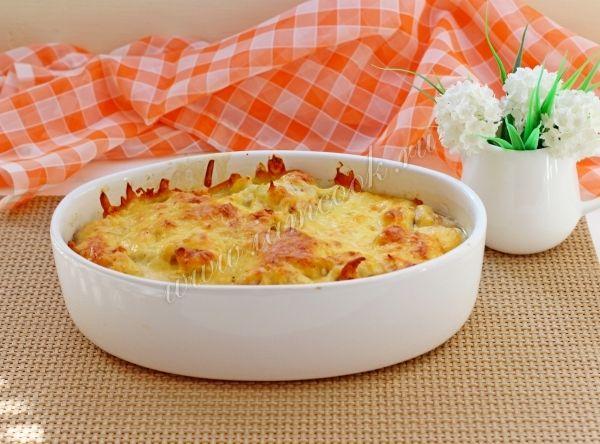 Запеканка с сыром, цветной капустой и курицей