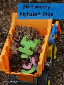 26 Sensory Alphabet Digs to practice letter identification.  Can also dig for sight words or vocabulary words from Growing Book by Book #sensorybins #kbn #growingbookbybook #outsideplay