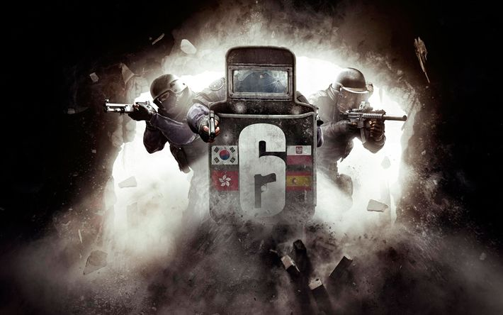 Download wallpapers Tom Clancys Rainbow Six Siege, poster, 2017 games, shooter