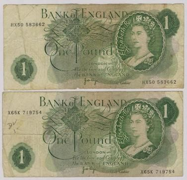One pound notes, i miss these, they were much better than the coins we have now
