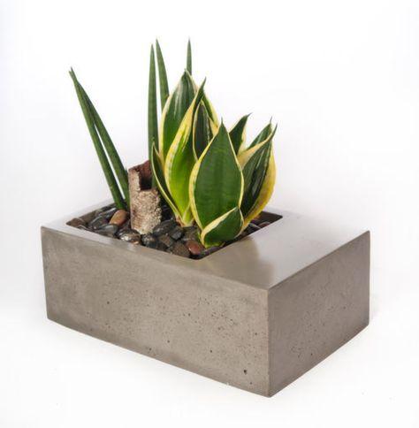 Vaso retangular de concreto. dyi