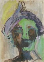 ISABELLA GABRIEL NIANG,   «Küss mich». Öl auf grundiertem Papier. 59,1 x 42 cm. Signiert und betitelt. (1997).  Der Betrachter blickt in das maskenhaft-exotische Gesicht einer dunkelhäutigen Schönheit. Große Farbflächen und  schnelle Pinselstriche geben eine Ahnung ihrer Mimik, skizzieren ihre Augenbrauen, einen breiten Nasenrücken und ein Tuch, das um ihren Kopf geschlungen ist.