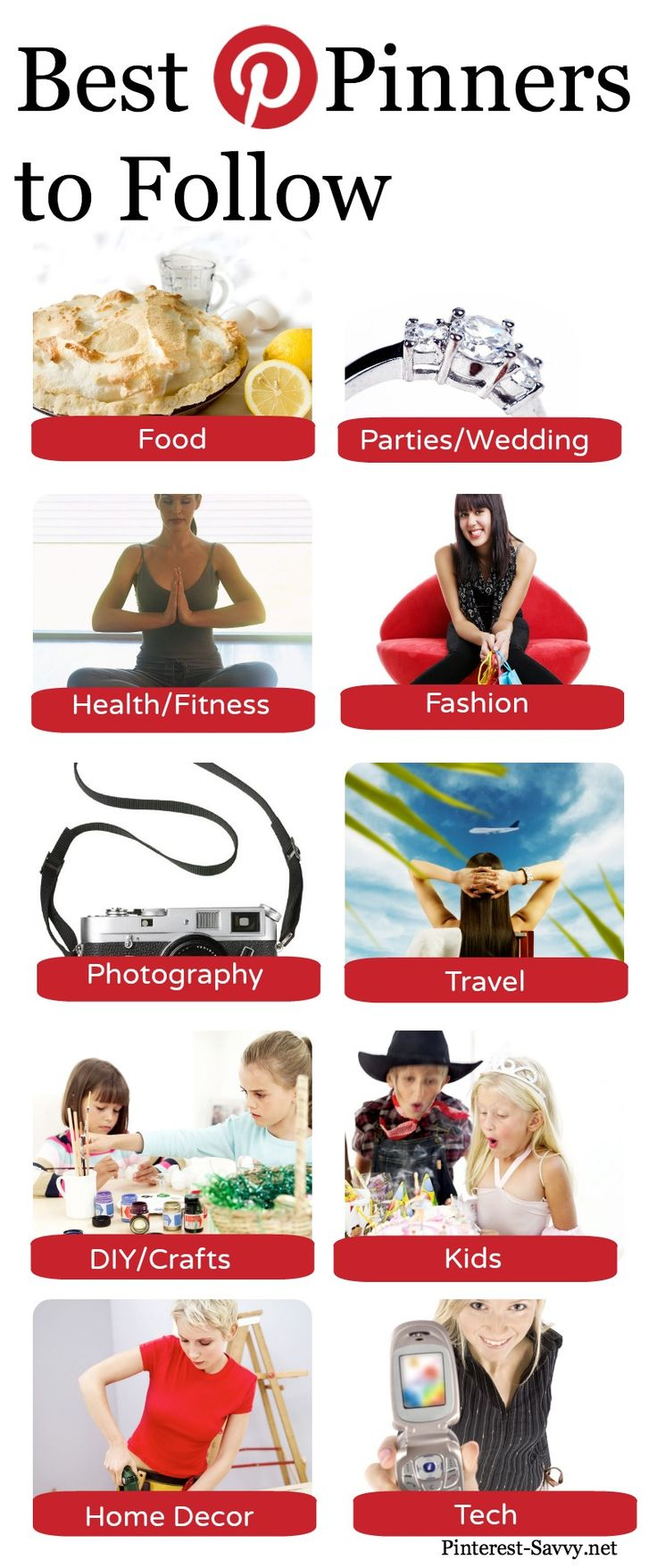 Who to Follow on Pinterest - in food, wedding, health, fashion, photography, travel, DIY, kids, home decor, and tech