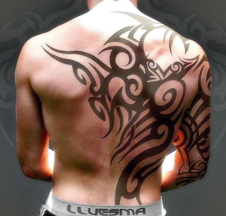 Mens Tribal Tattoo Half Back And Arm