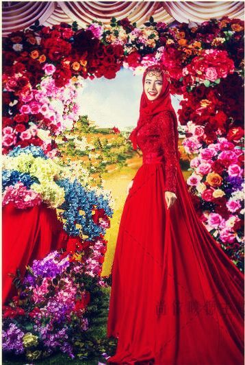 Elegant fancy muslim wedding dress.Find more hijab and muslim wedding dress with muslimtourtravel.com in China.
