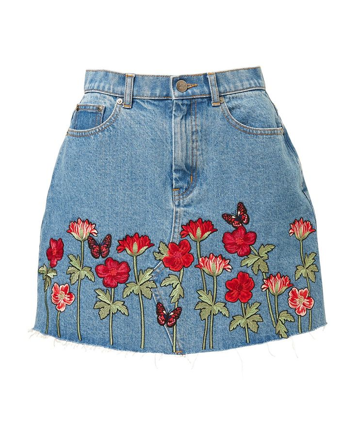 EMBROIDERED CUT OFF DENIM MINI SKIRT