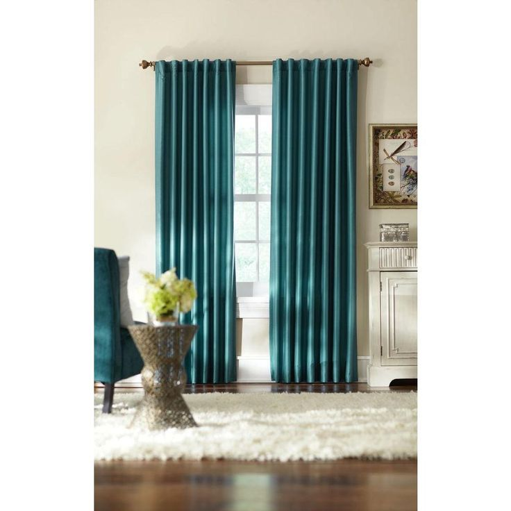 Home Decorators Collection Teal Slub Faux Silk Back Tab Curtain Curtain Panels Ducks And