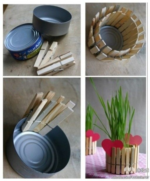 How to make beautiful planting pot with cans and clips step by step DIY tutorial instructions 512x615 How to make beautiful planting pot with cans and clips step by step DIY tutorial instructions